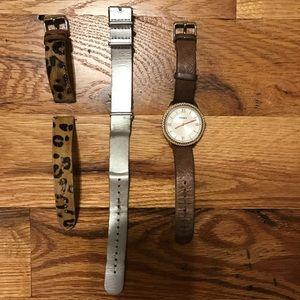 Women's rose gold fossil watch
